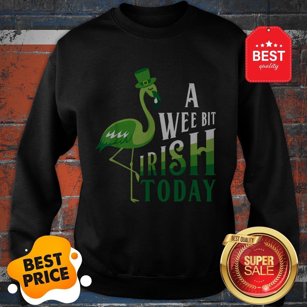 A Wee Bit Irish Today Flamingo St. Patrick's Day Sweatshirt