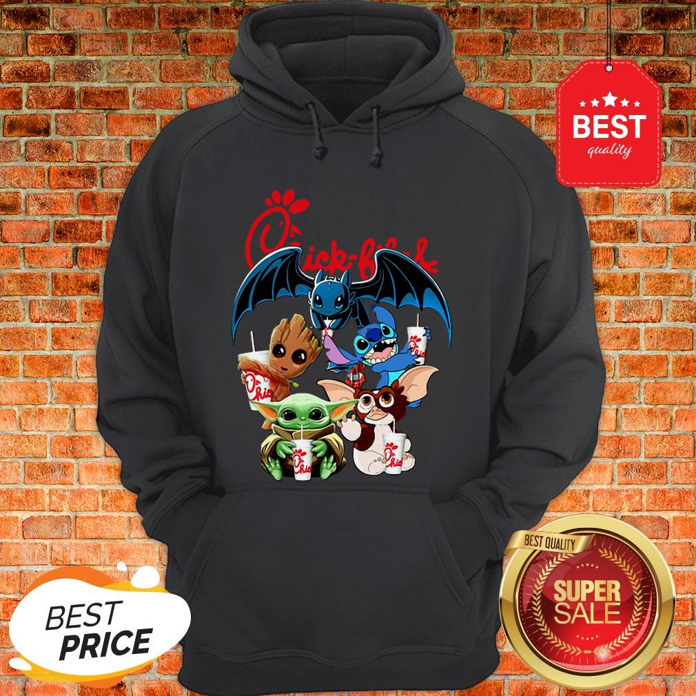 Chick Fil A Mashup Baby Yoda Baby Groot Toothless Stitch Gizmo Hoodie