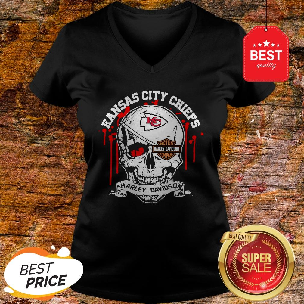 Nice Kansas City Chiefs Motor Harley Davidson Cycles Skull V-neck