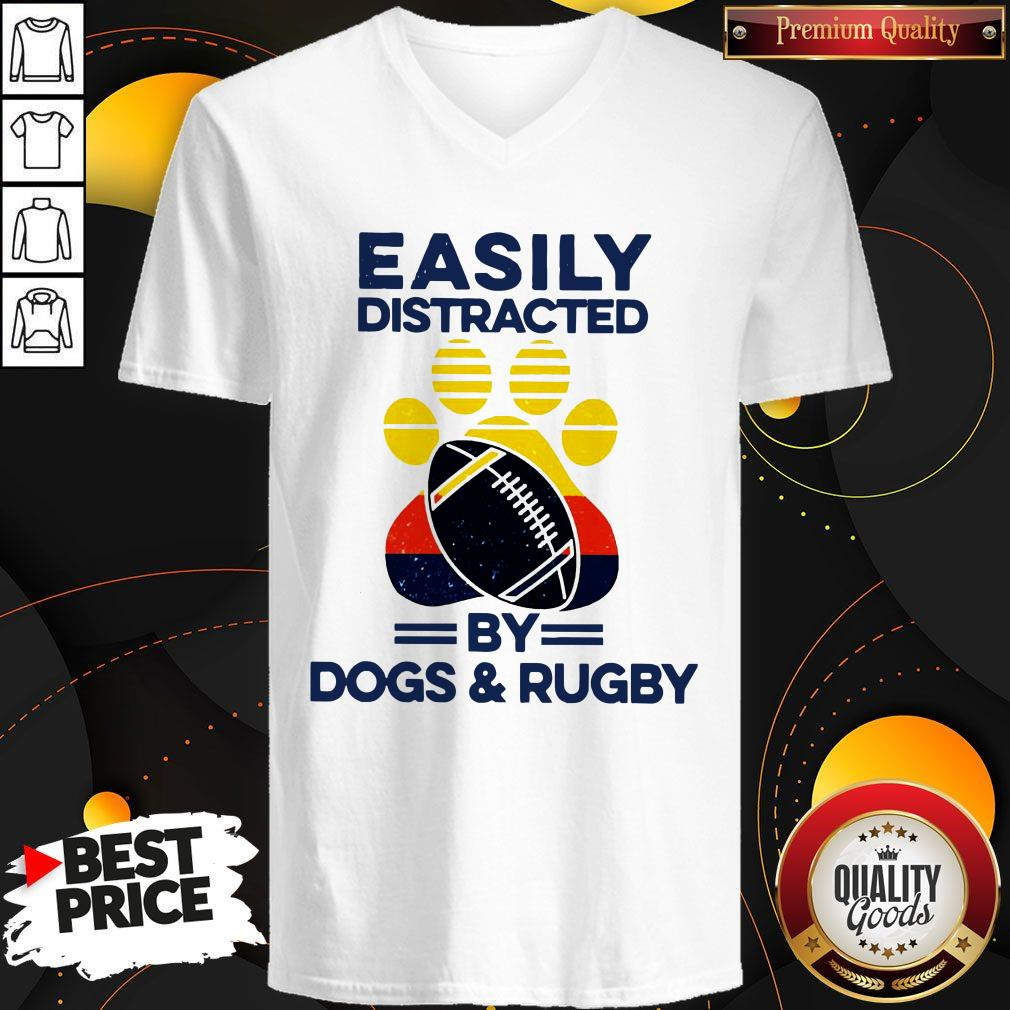 Easily Distracted By Dogs And Rugby Vintage V-neck