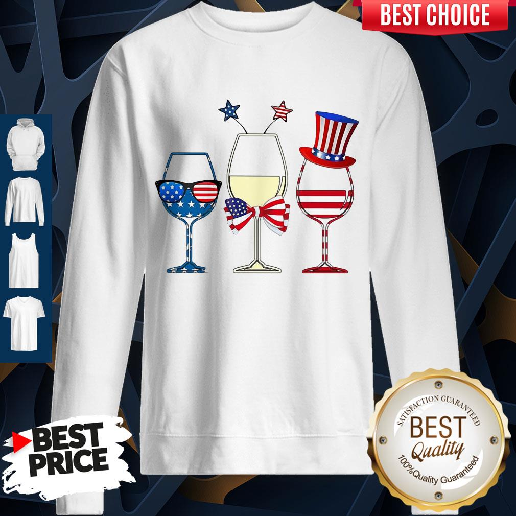 Official Wine Glass America Flag 4th Of July Sweatshirt