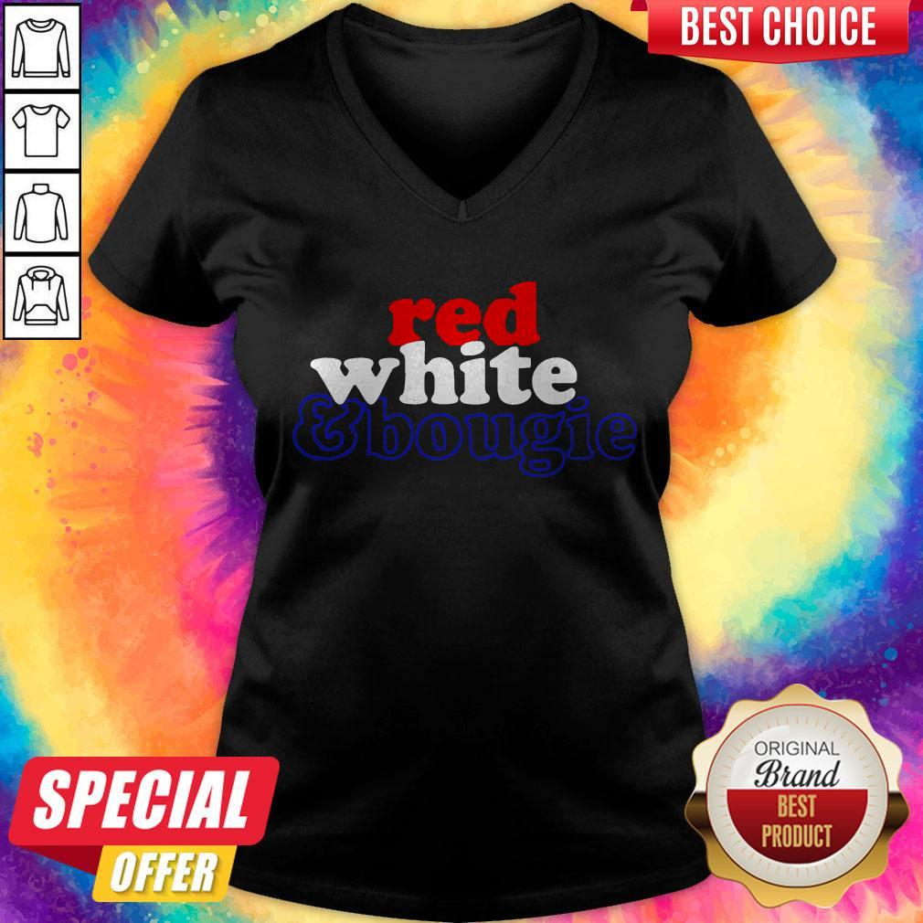 Red White Bougie Independence Day V-neck