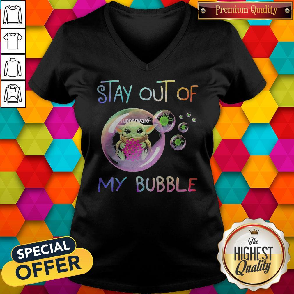 Baby Yoda Hug Tupperware Stay Out Of My Bubble V-neck