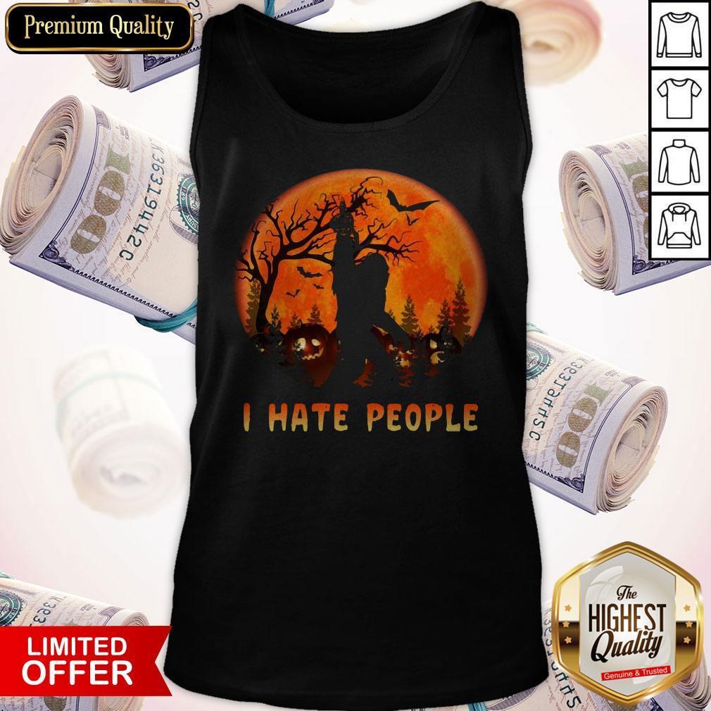 Bigfoot I Hate People Halloween Moon Tank Top