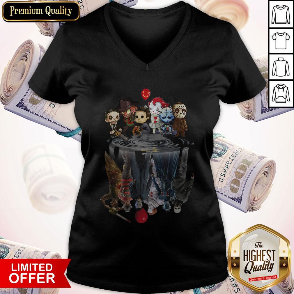 Horror Characters Movies Water Mirror Reflection Halloween V-neck