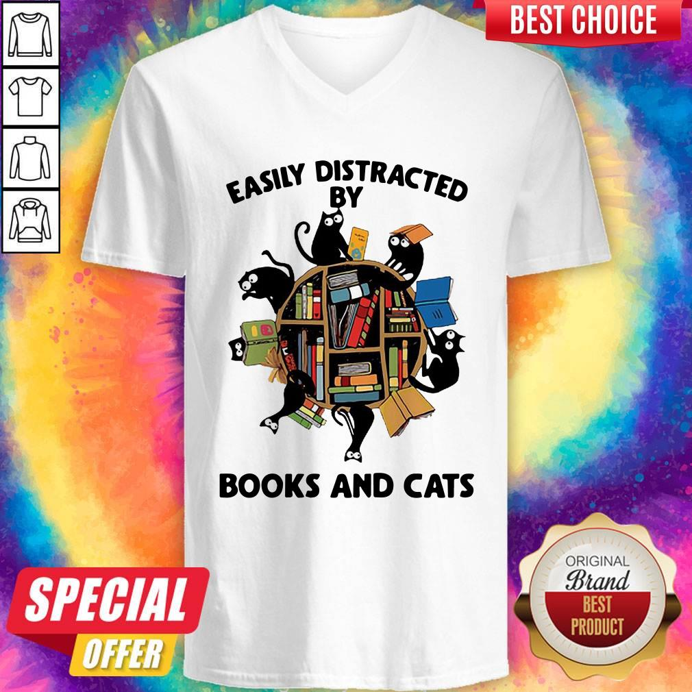 Librarian Easily Distracted By Books And Cats Black V-neck