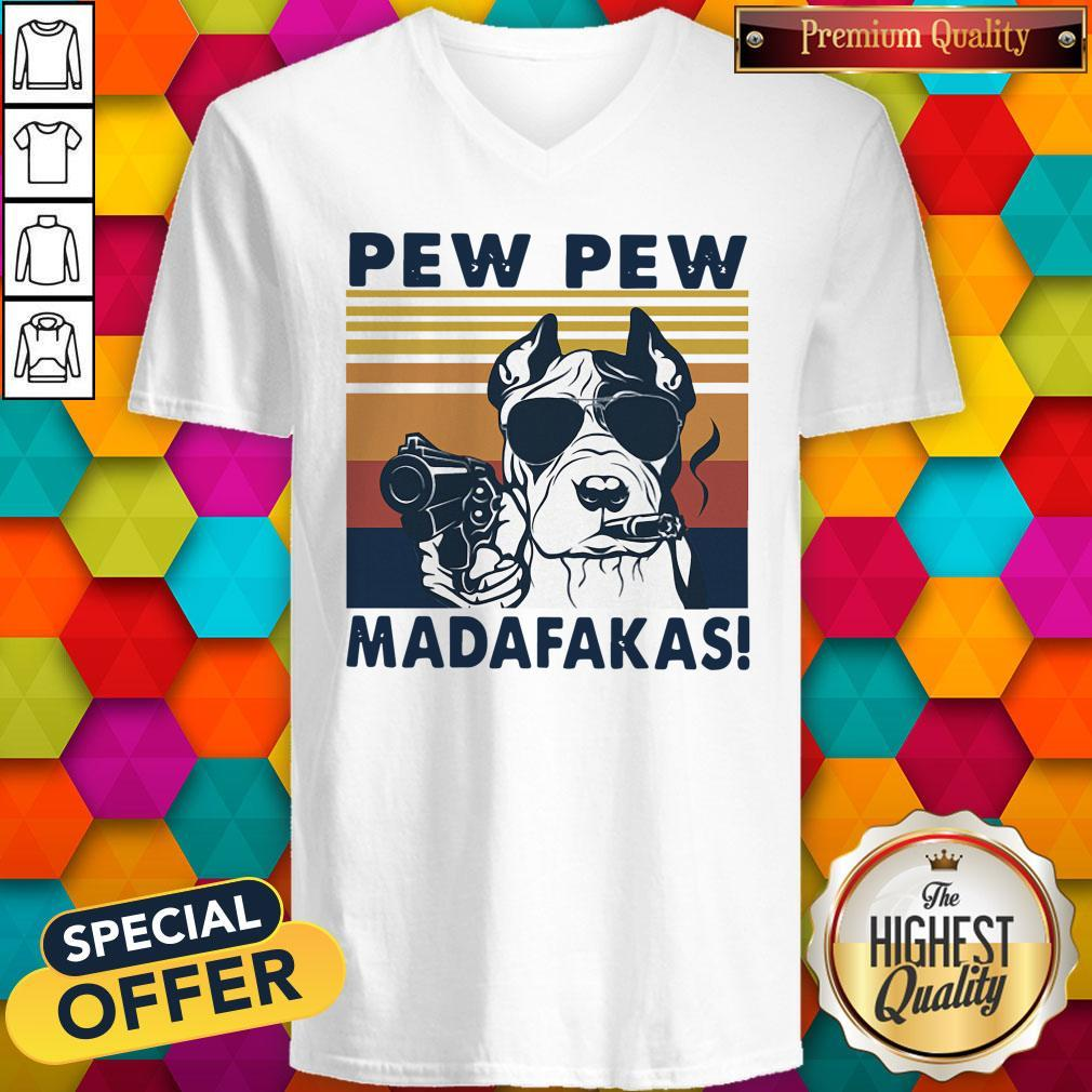 Pitbull Smoke Pew Pew Madafakas Vintage V-neck