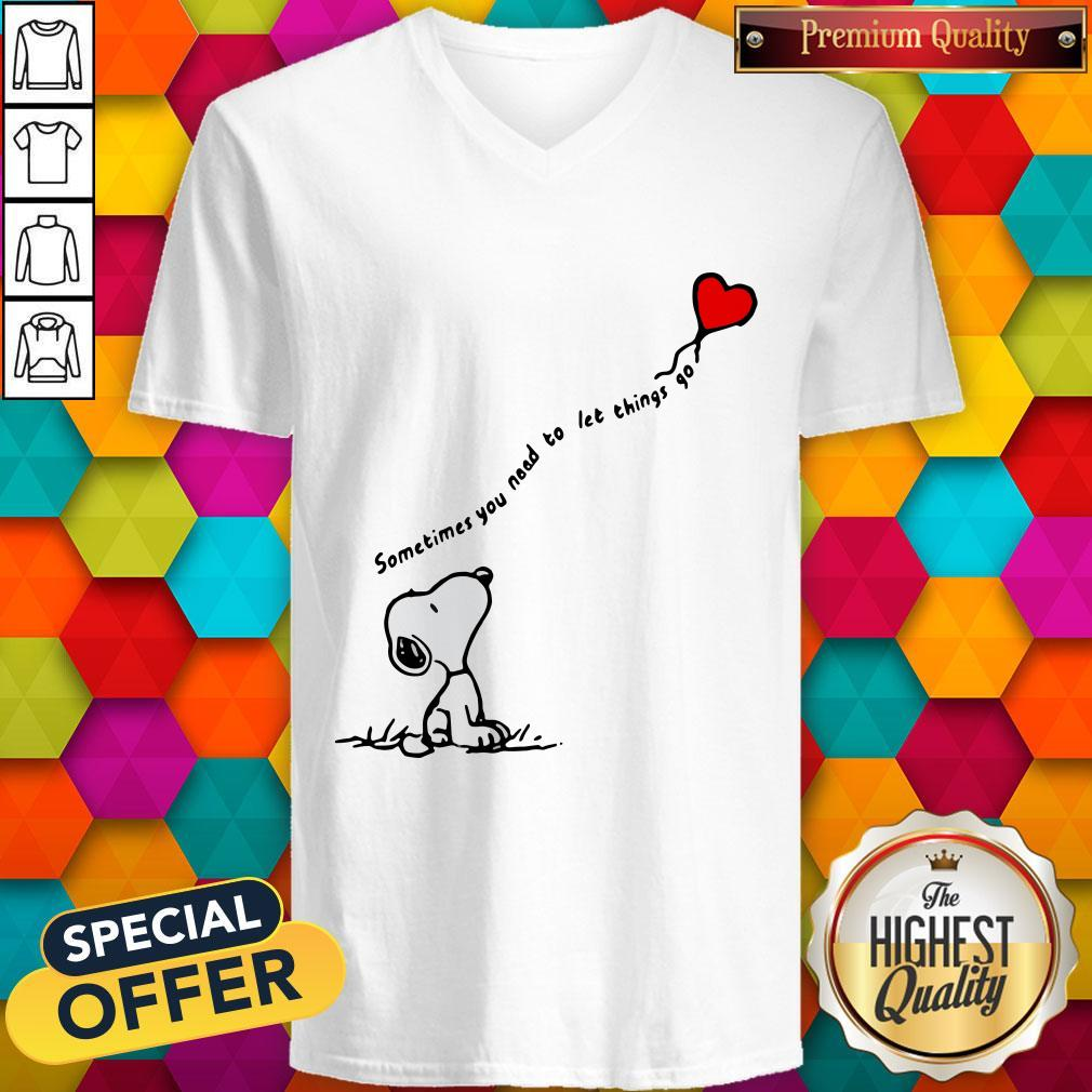 Snoopy Sometimes You Need To Let Things Go Hearts V-neck