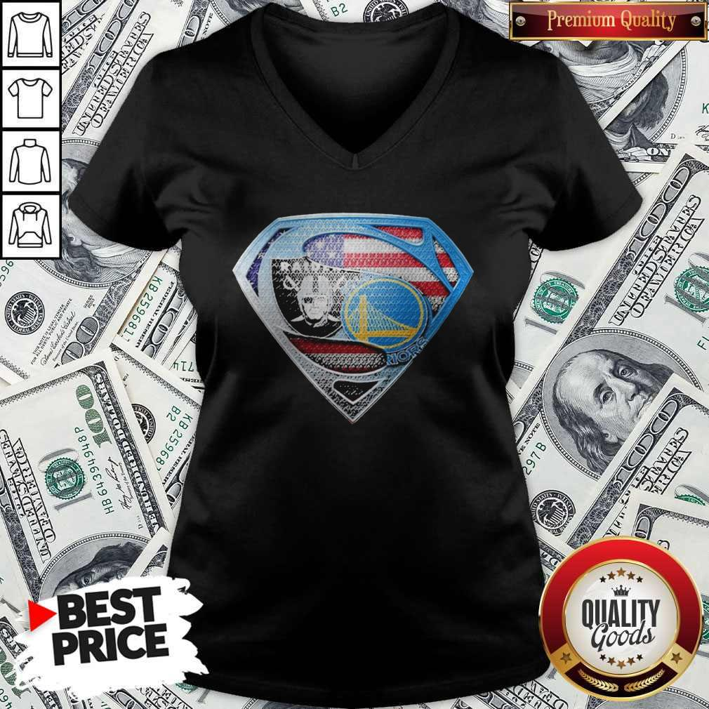 Superman Golden State Warriors And Oakland Raiders V-neck