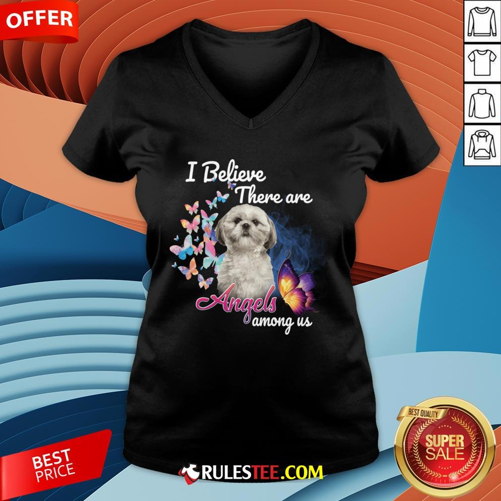 Cute Shih Tzu I Believe There Are Angels Among Us V-neck-Design By Rulestee.com