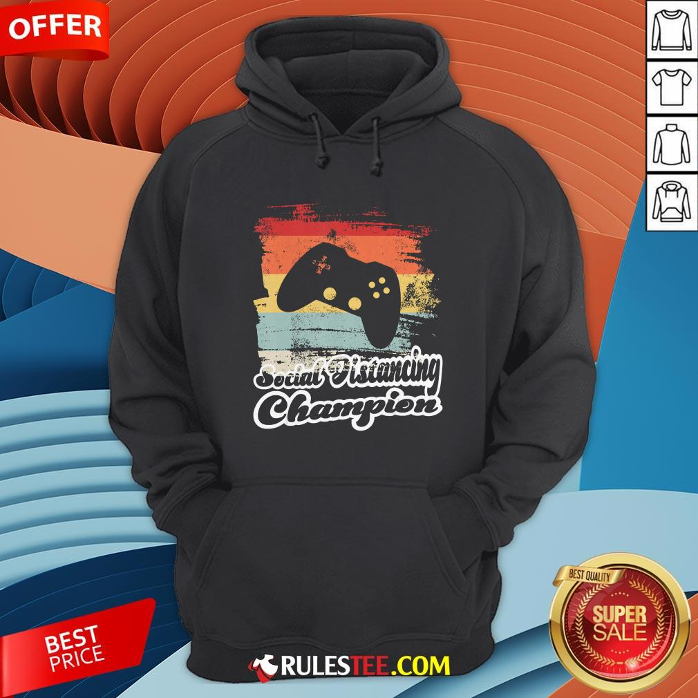 Social Distancing Champion Gaming Controller Vintage Retro Hoodie- Design By Rulestee.com