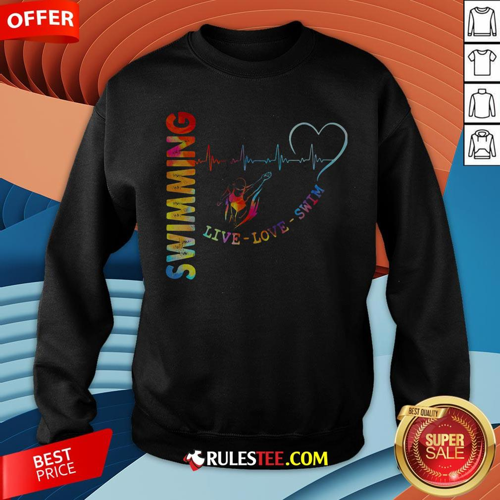 Colorful Swimming Live Love Swin Heart Beat Sweatshirt - Design By Rulestee.com