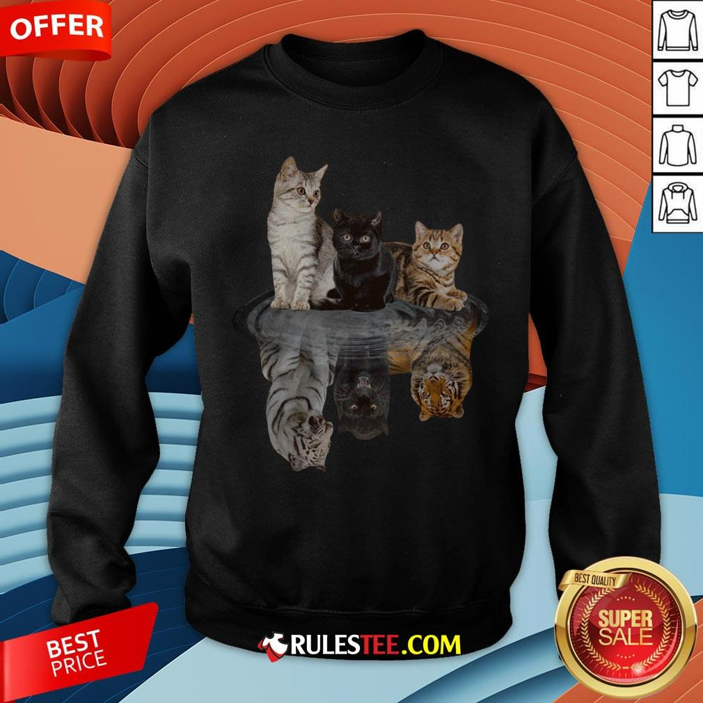Awesome The Cats Water Mirror Reflection Tigers Sweatshirt - Design By Rulestee.com