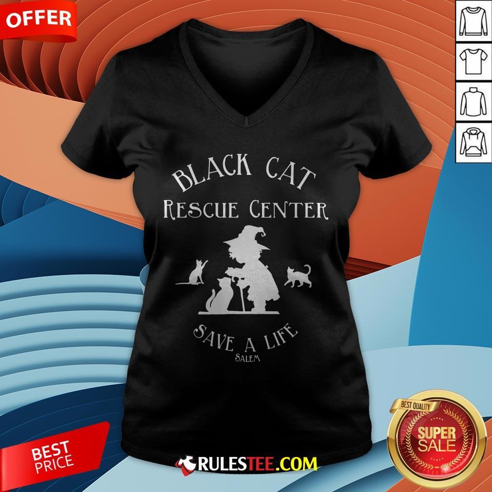 Black Cat Rescue Center Save A Life Salem Witch Halloween V-neck - Design By Rulestee.com