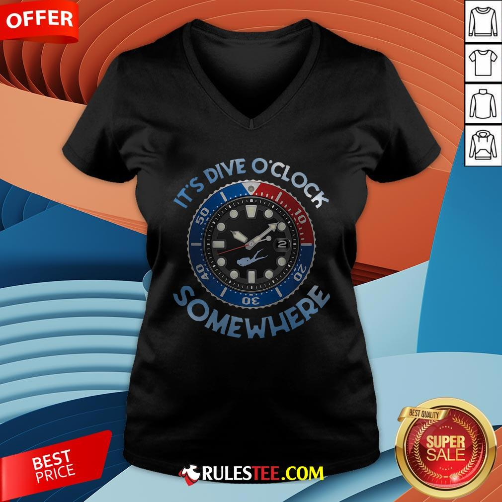 Awesome Scuba Diving It's Five O'clock Somewhere V-neck - Design By Rulestee.com