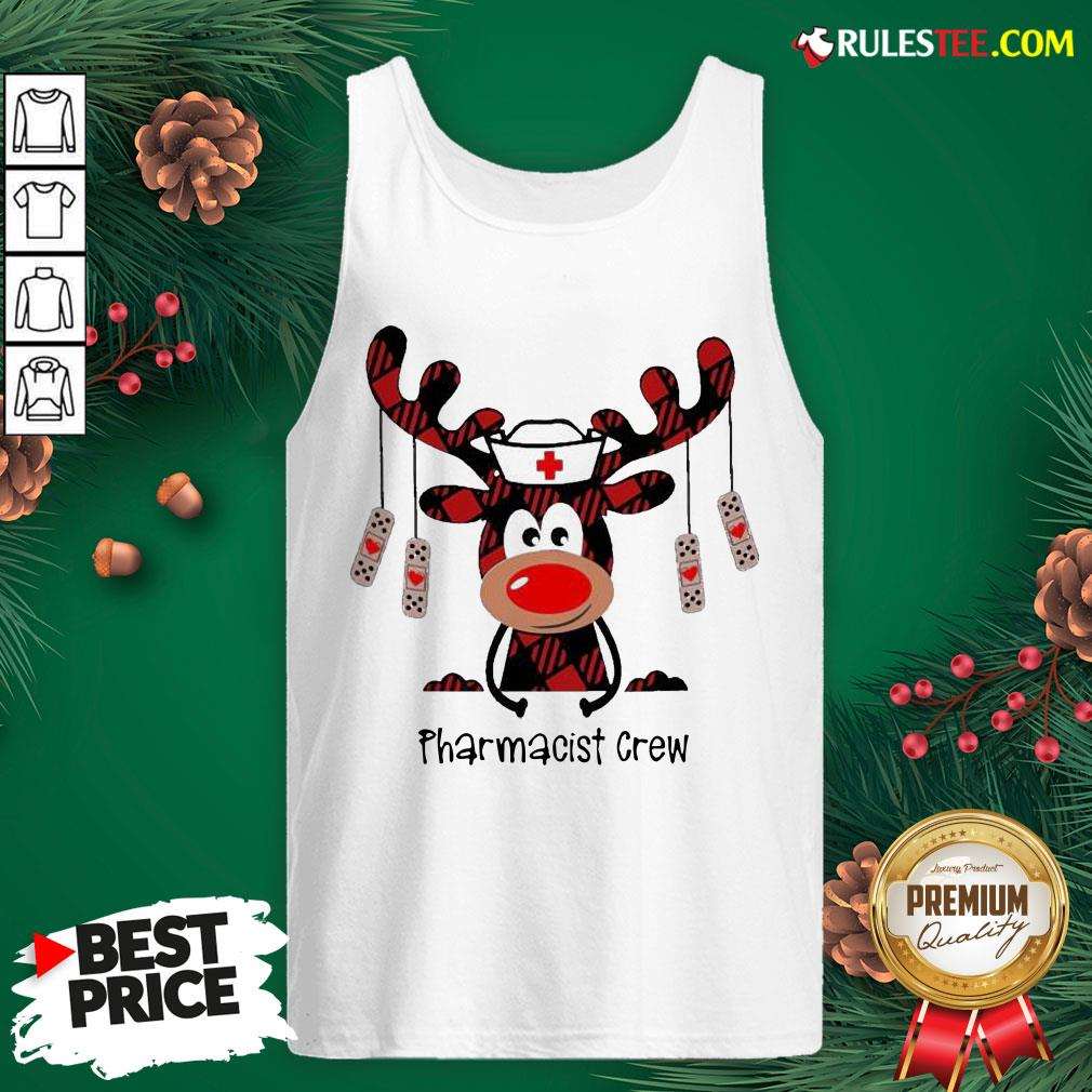 Awesome Plaid Reindeer Pharmacist Crew Christmas Tank Top - Design By Rulestee.com
