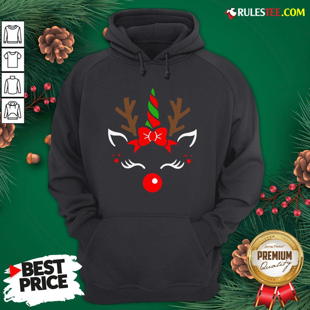 Good Unicorn Face Reindeer Antlers Christmas Funny Pet Kids Gifts Hoodie - Design By Rulestee.com