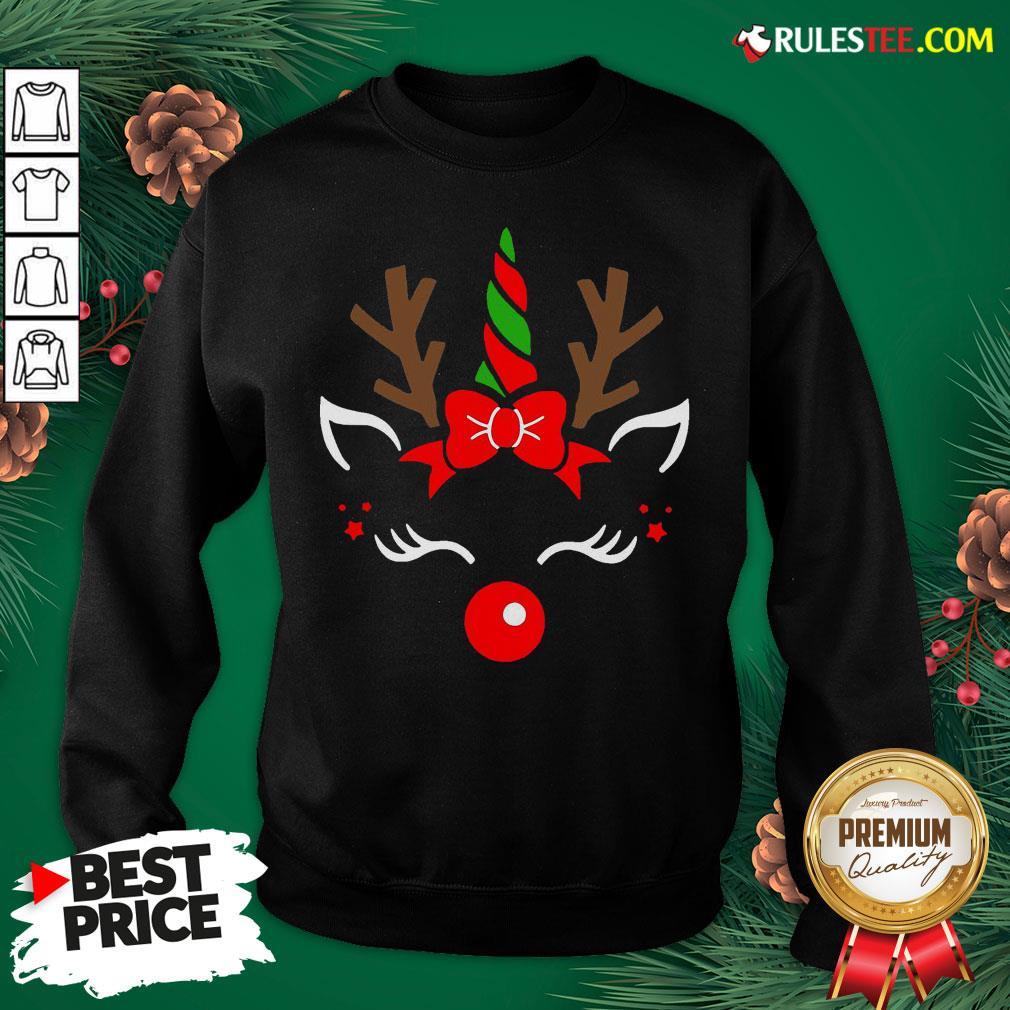 Good Unicorn Face Reindeer Antlers Christmas Funny Pet Kids Gifts Sweatshirt - Design By Rulestee.com