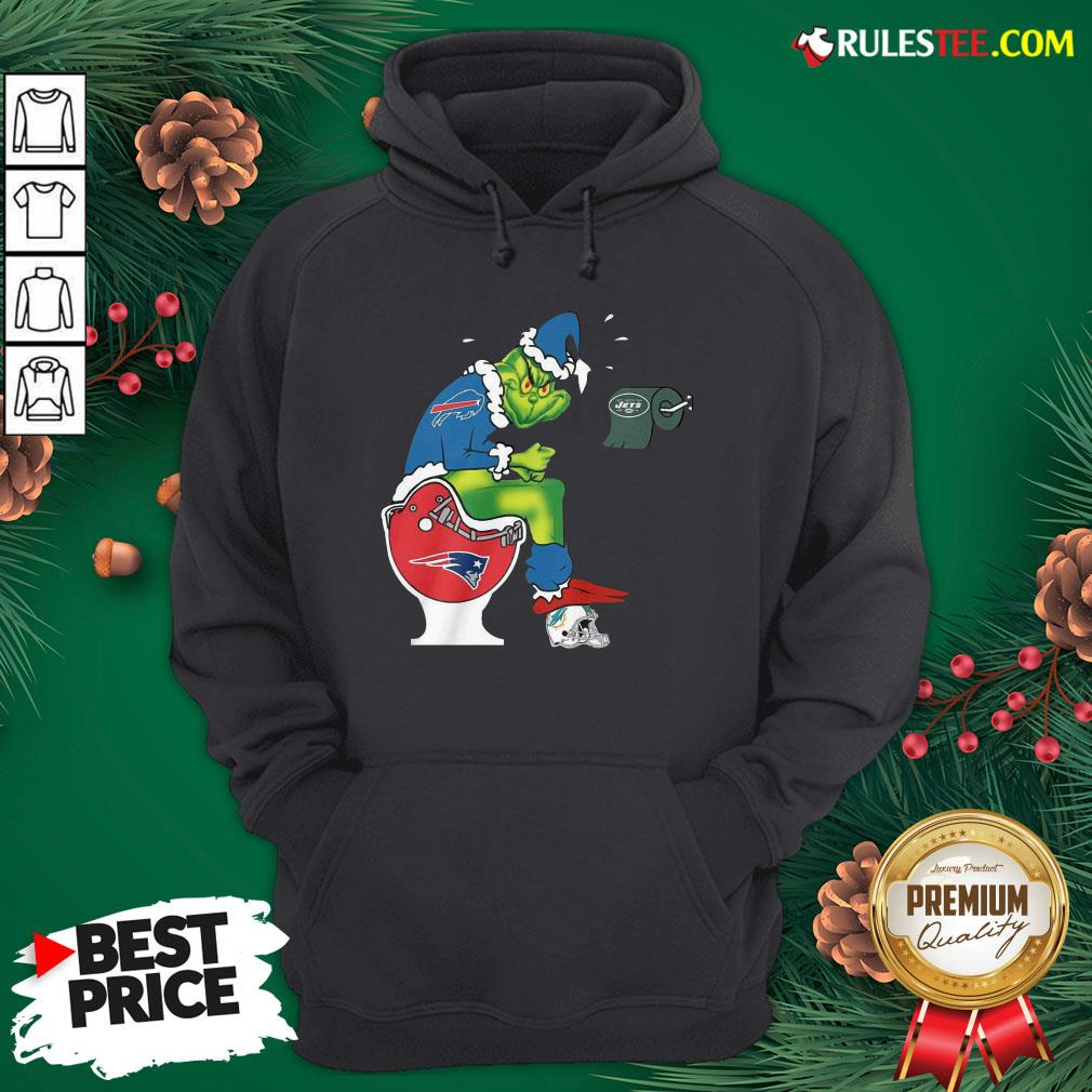 Premium The Grinch Buffalo Bills Shit On Toilet New England Patriots Christmas Hoodie - Design By Rulestee.com
