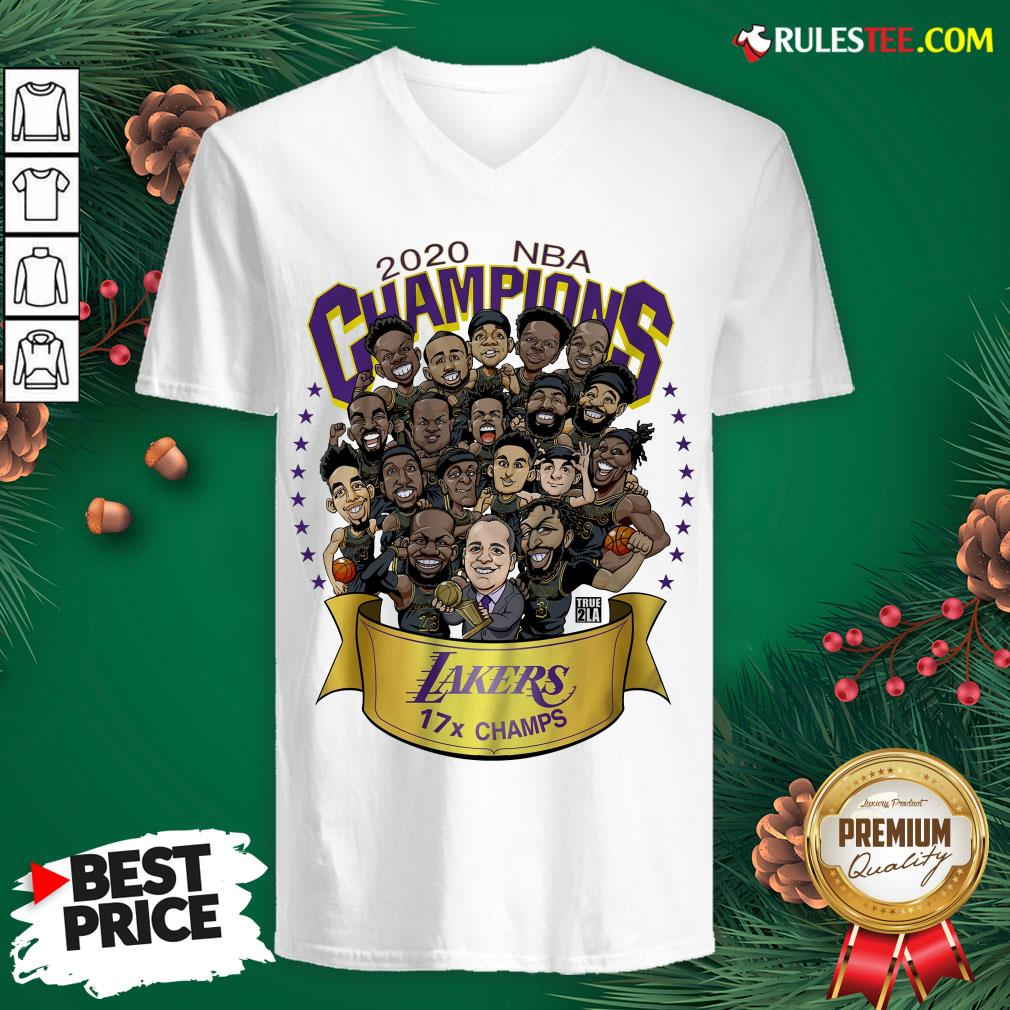 Nice 2020 Nba Champions Los Angeles Lakers 17 Champs Cartoon V-neck - Design By Rulestee.com