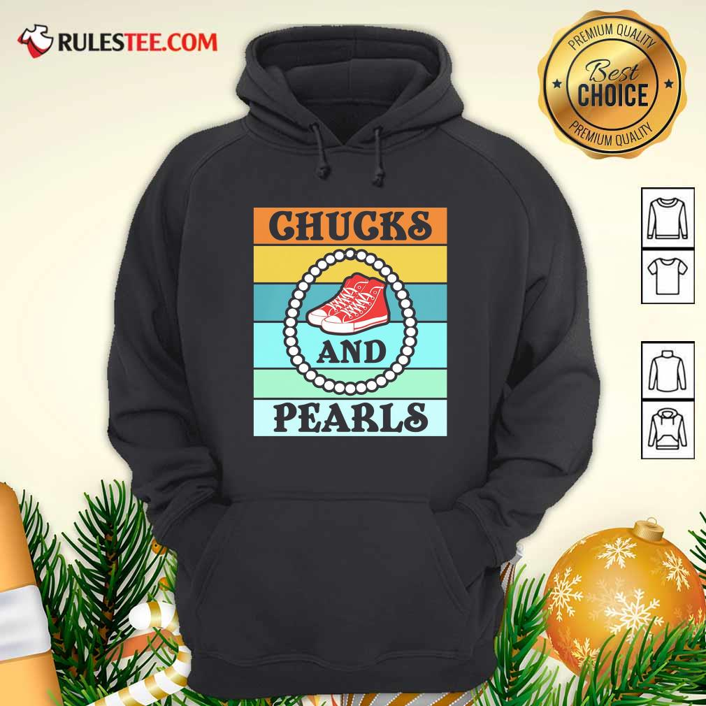 Vintage Chucks And Pearls With Kamala Harris For President 2021 Hoodie - Design By Rulestee.com