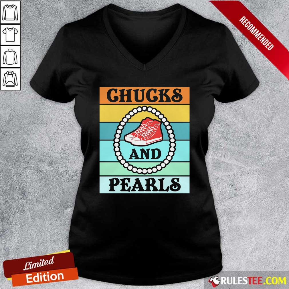 Vintage Chucks And Pearls With Kamala Harris For President 2021 V-neck - Design By Rulestee.com