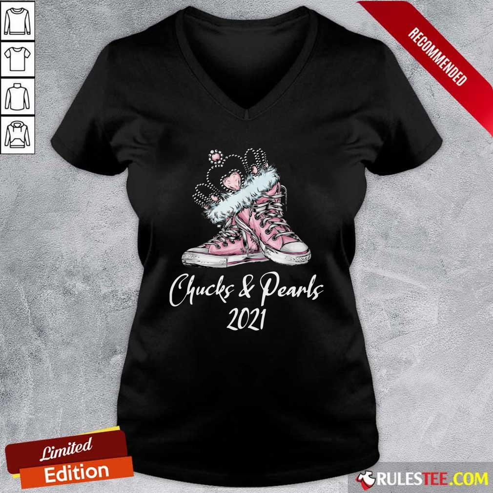 Crown Sneakers Chucks And Pearls For Kamala Harris 2021 V-neck- Design By Rulestee.com