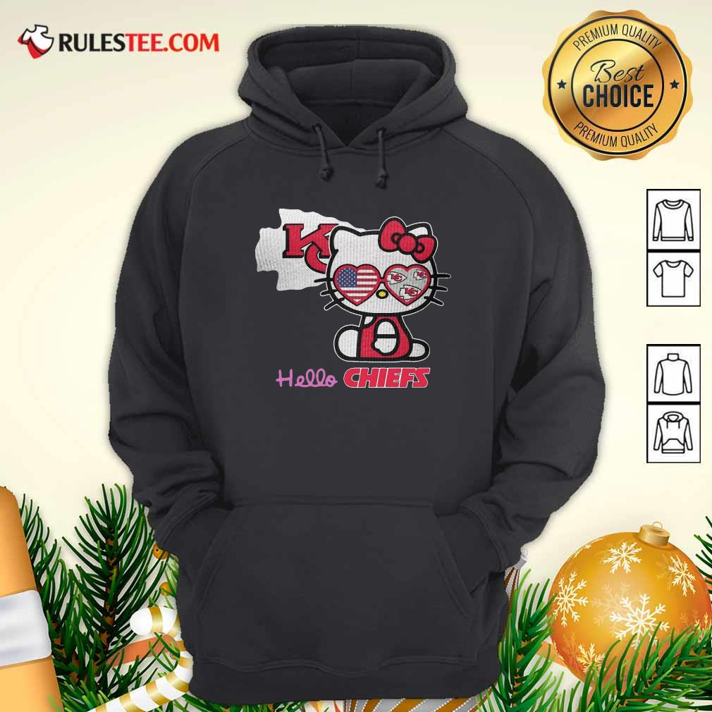 Hello Kitty Hello Kansas City Chiefs With American Flag 2021 Hoodie - Design By Rulestee.com