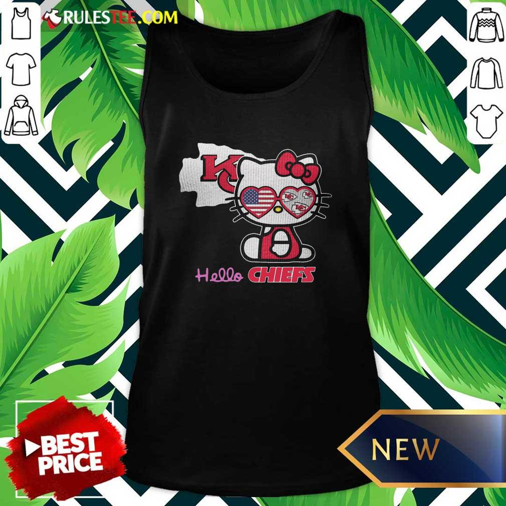 Hello Kitty Hello Kansas City Chiefs With American Flag 2021 Tank Top - Design By Rulestee.com