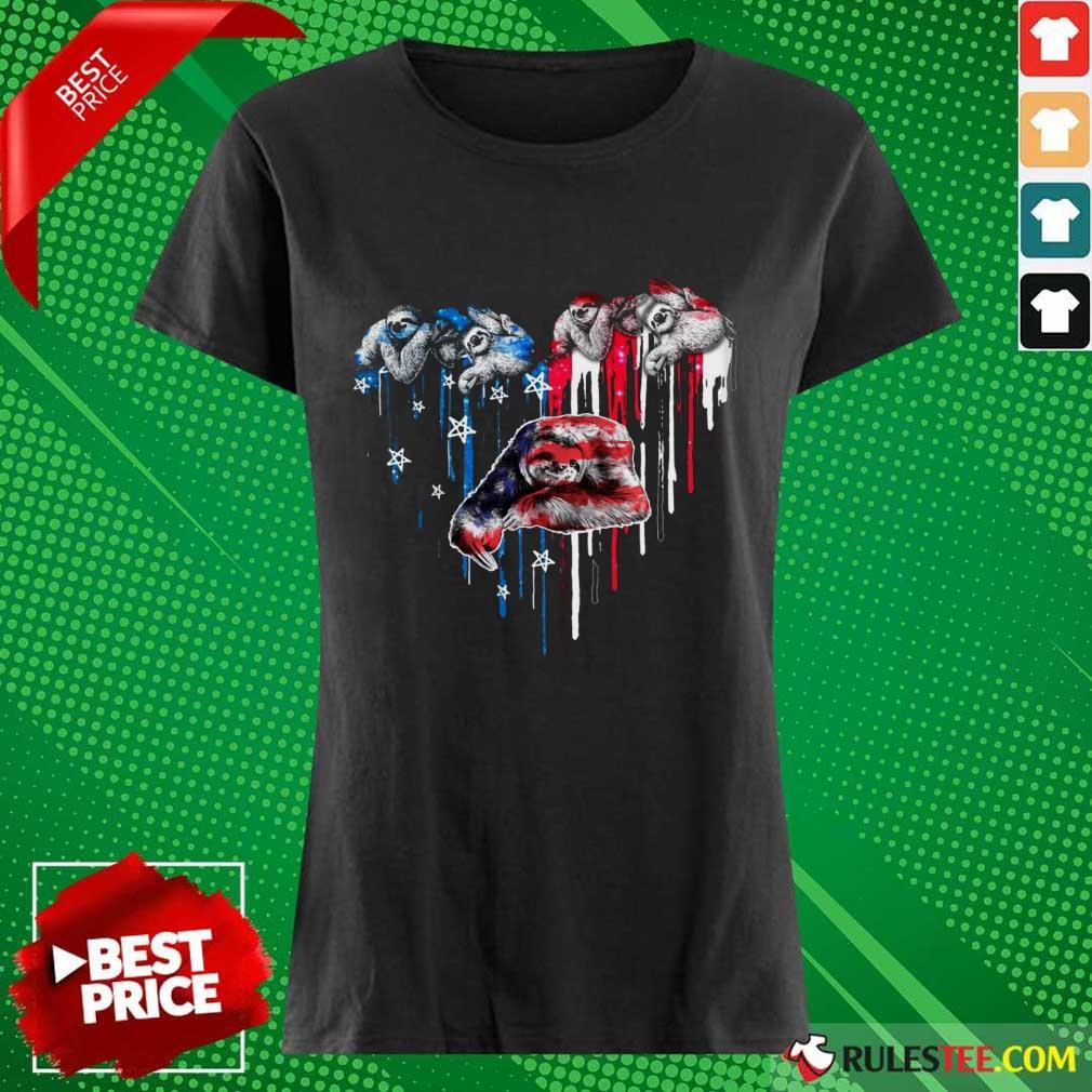Sloth Heart American Flag Ladies Tee