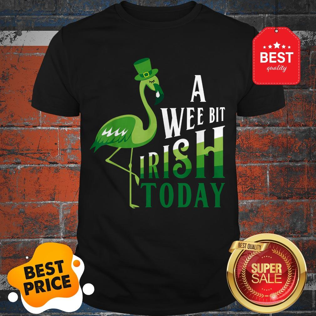 A Wee Bit Irish Today Flamingo Leprechaun St Patricks Day T-Shirt Birthday Gift