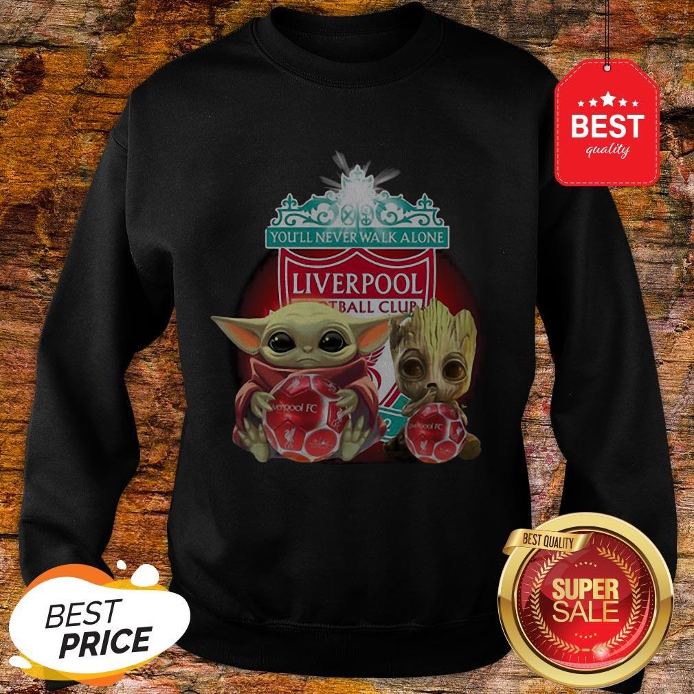 Baby Yoda And Baby Groot Hug Liverpool You'll Never Walk Alone Sweatshirt