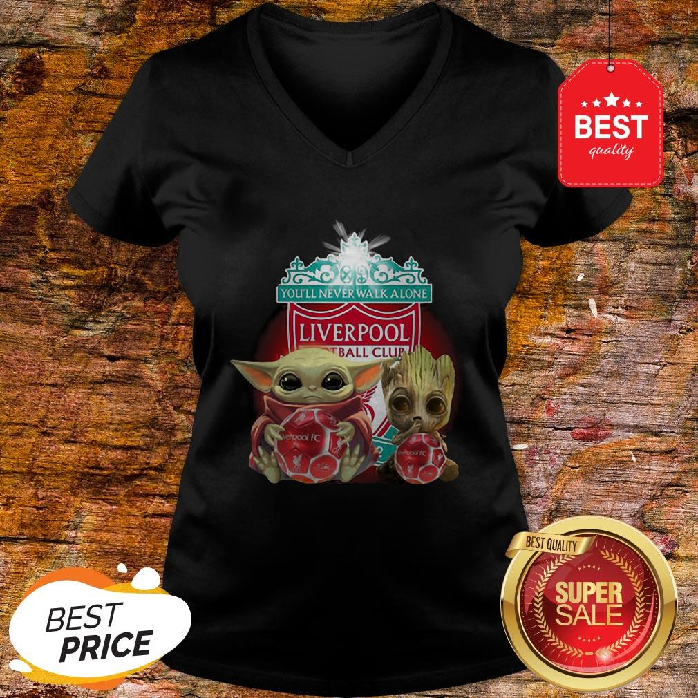 Baby Yoda And Baby Groot Hug Liverpool You'll Never Walk Alone V-neck