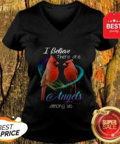 Cardinal Bird I Believe There Are Angels Among Us V-neck