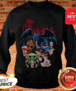 Chick Fil A Mashup Baby Yoda Baby Groot Toothless Stitch Gizmo Sweatshirt
