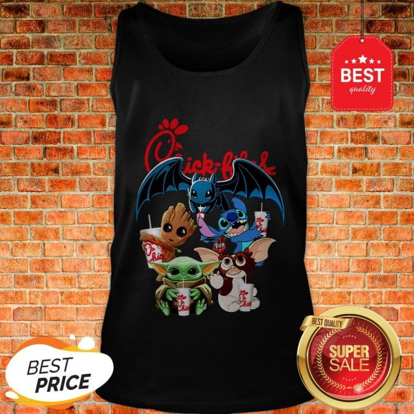 Chick Fil A Mashup Baby Yoda Baby Groot Toothless Stitch Gizmo Tank Top