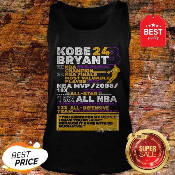 Kobe Bryant 24 8 5X NBA Champion 2X NBA Finals Most Valuable Tank Top