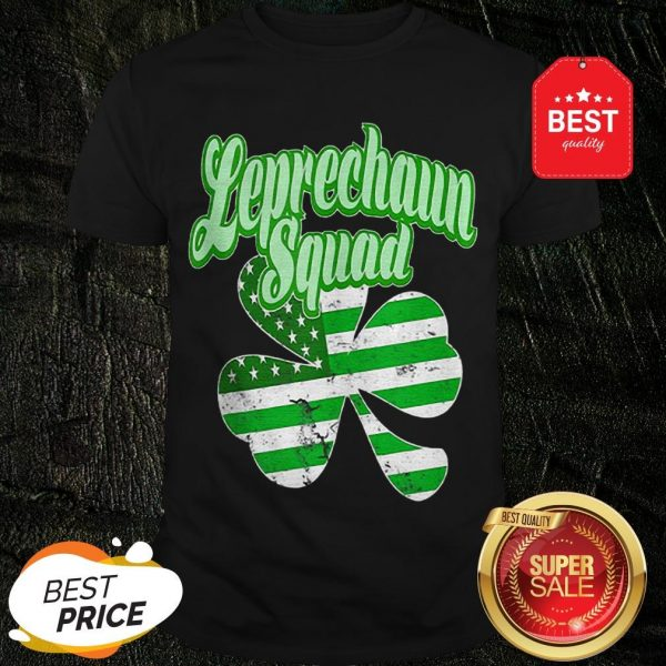 Leprechaun Squad St. Patrick's Day American Flag Irish Clover Shirt