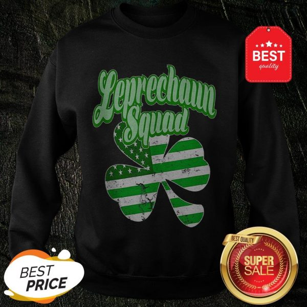 Leprechaun Squad St. Patrick's Day American Flag Irish Clover Sweatshirt