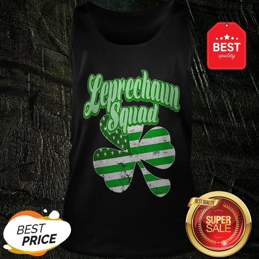 Leprechaun Squad St. Patrick's Day American Flag Irish Clover Tank Top