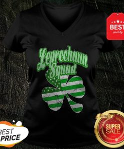 Leprechaun Squad St. Patrick's Day American Flag Irish Clover V-neck