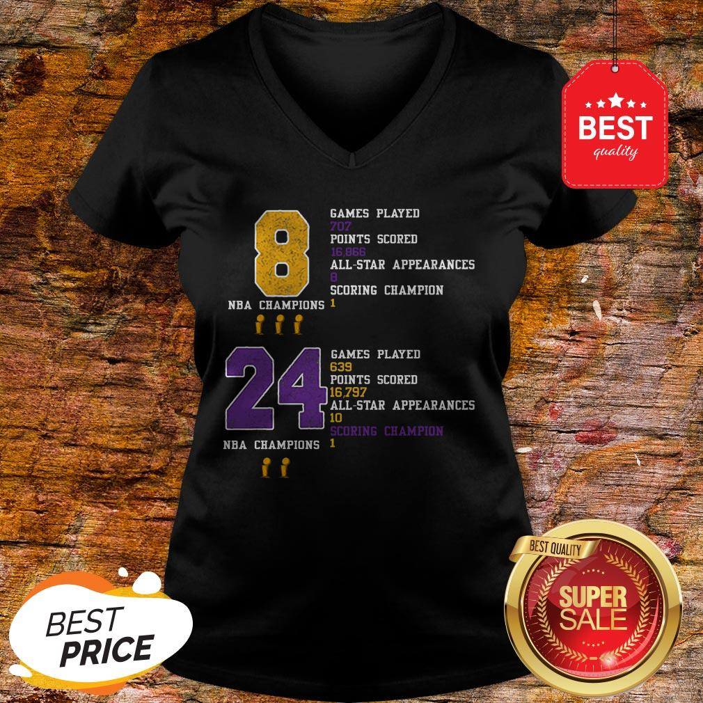 NBA Champion 8 24 Game Played Points Scored All-Star Appearances V-neck
