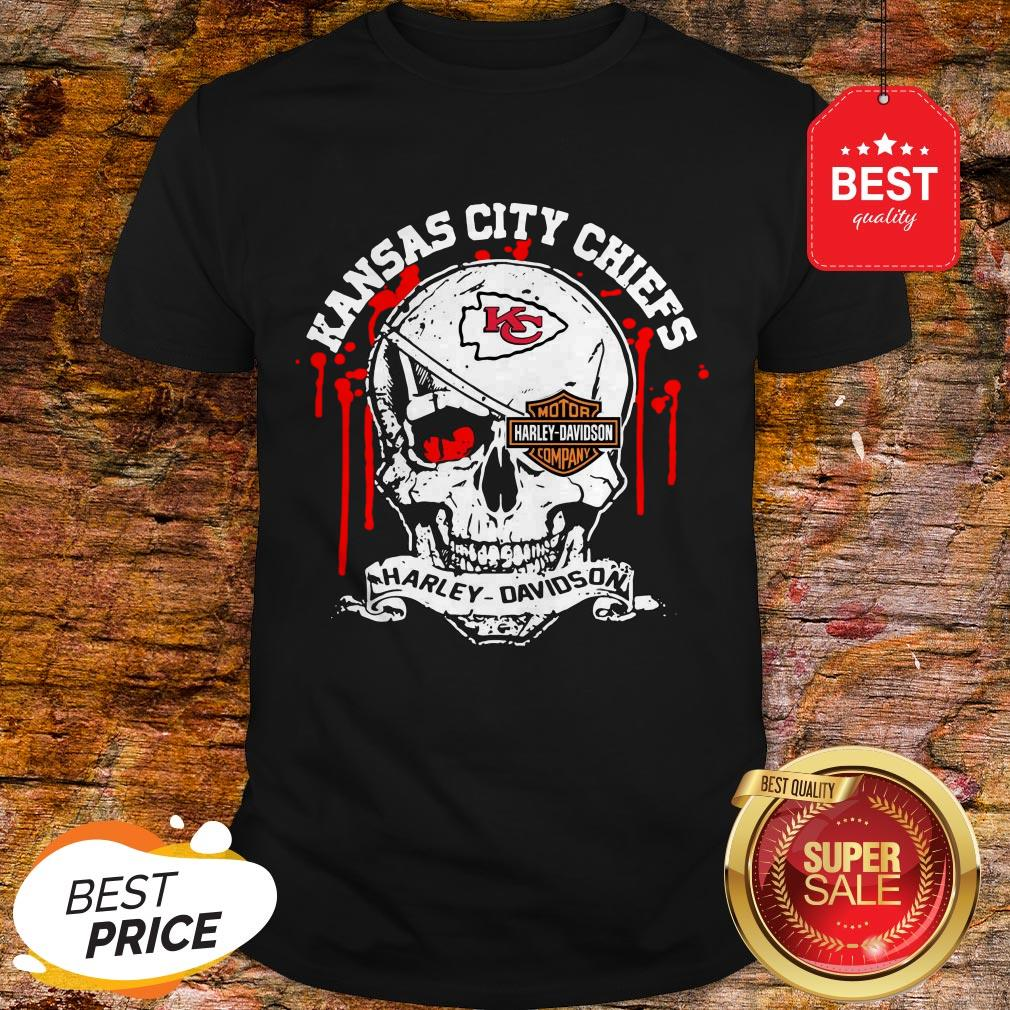 Nice Kansas City Chiefs Motor Harley Davidson Cycles Skull Shirt