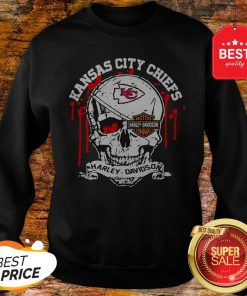 Nice Kansas City Chiefs Motor Harley Davidson Cycles Skull Sweatshirt