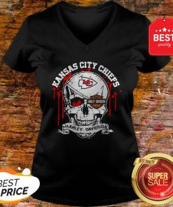 Nice Kansas City Chiefs Motor Harley Davidson Cycles Skull V-neck