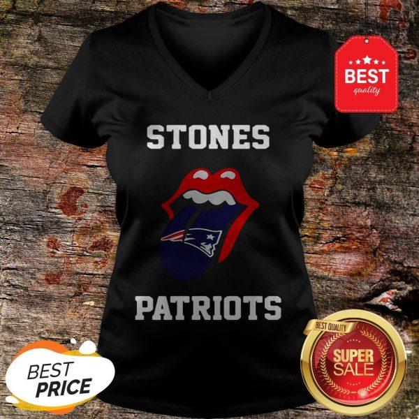 Nice Rolling Stones Logo New England Patriots V-neck