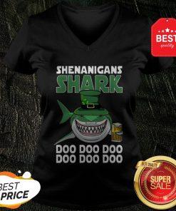 Nice Shenanigans Shark Doo Doo Doo St Patrick's Day V-neck