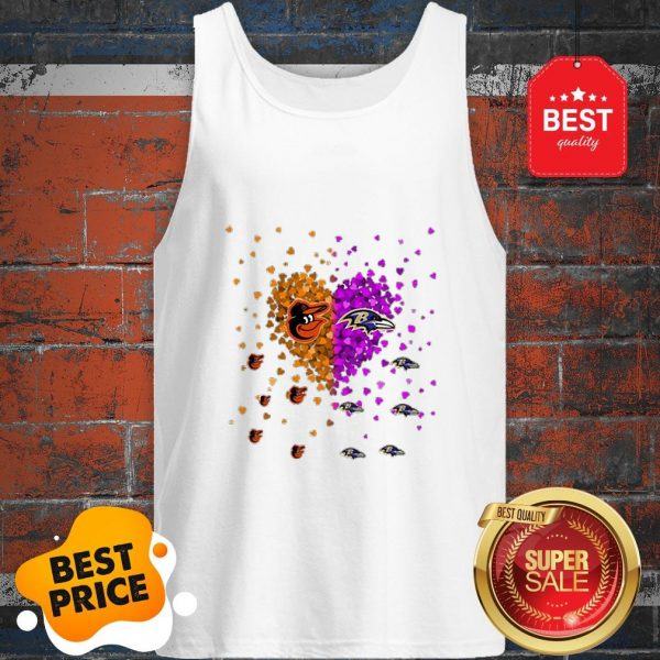 Official Baltimore Orioles And Baltimore Ravens Heart Tank Top