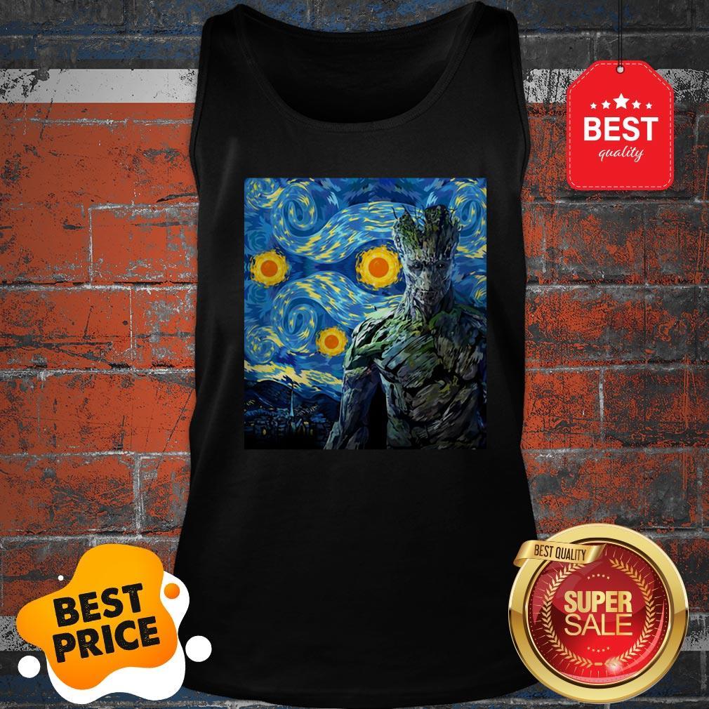 Official Marvel Groot Mashup Van Gogh Starry Night Tank Top