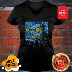 Official Marvel Groot Mashup Van Gogh Starry Night V-neck